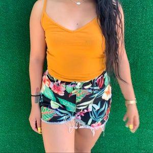 Tropical Zara jean shorts!